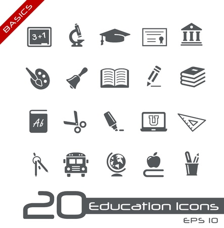 back icon: Education Icons - Basics Illustration