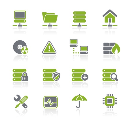 firewall icon: Network and Server Icons -- Natura Series
