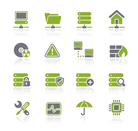 Red y el servidor Iconos - Natura Series Ilustración de vector