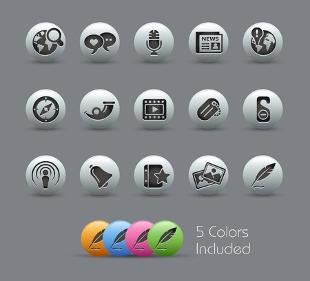 Social Media Icons -- Pearly Series Vector