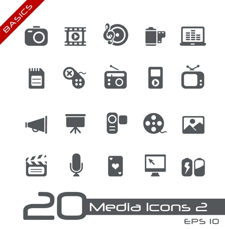 Multimedia Icons -- Basics Series Vector