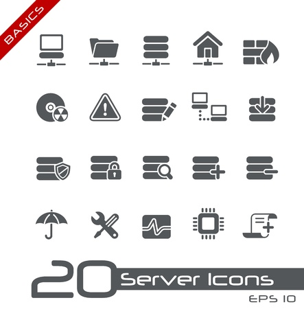 network server: Network and Server Icons-- Basics Series Illustration