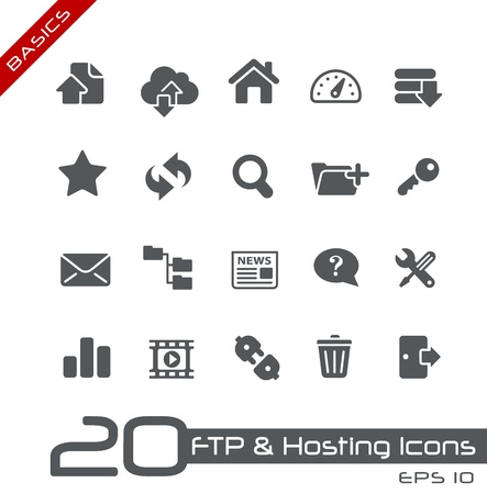 file share: FTP and Hosting Icons -- Basics Series Illustration