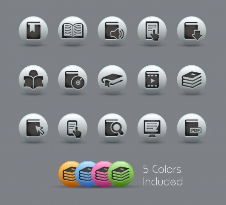 Book Icons --  file includes 5 colors
