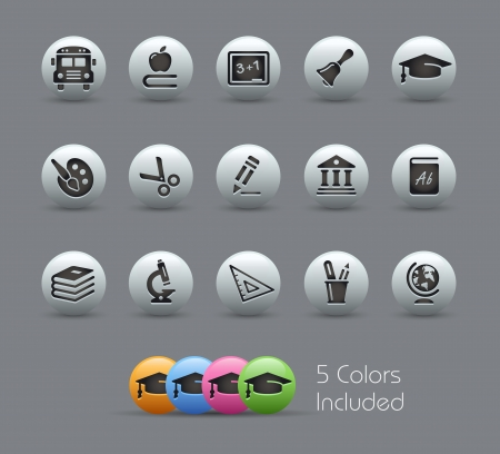 School and Education Icons --  file includes 5 colors  Vector