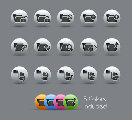 Folder Icons - 1 of 2 --  file includes 5 colors Vector