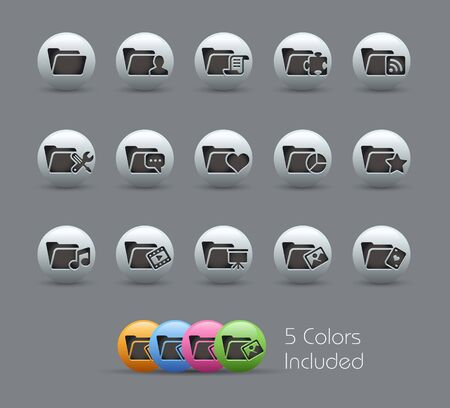 Folder Icons - 2 of 2 --  file includes 5 colors Stock Vector - 15561753
