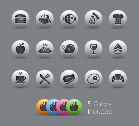 Food Icons - Set 1 of 2 --  file includes 5 colors  Vector
