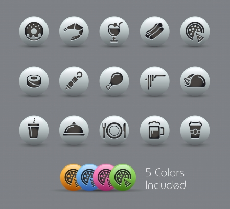 Food Icons - Set 2 of 2 -- file includes 5 colors  Vector