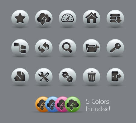 administration: FTP and Hosting Icons -- file includes 5 colors Illustration