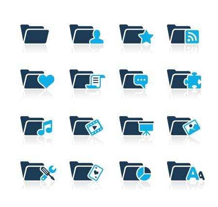 Folder Icons - 2 -- Azure Series Stock Vector - 15779733
