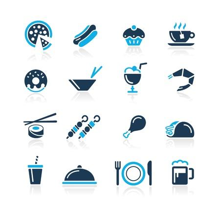 perro caliente: Iconos del alimento - 2 - Serie Azul