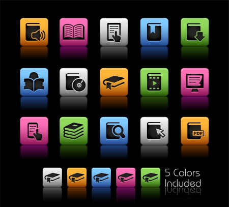 phone button: Book Icons - Color Box_It includes 5 color versions for each icon in different layers
