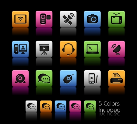 Communication Icons - Color Box_It includes 5 color versions for each icon in different layers