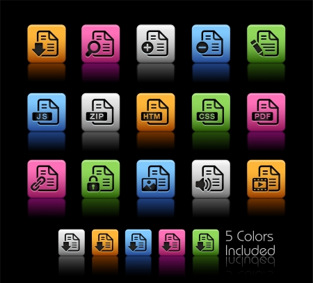 Documents Icons 1 - Color Box_It includes 5 color versions for each icon in different layers  Vector