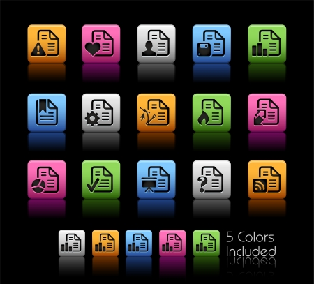 Documents Icons 2 - Color Box_It includes 5 color versions for each icon in different layers  Vector