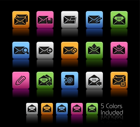 select all: E-mail Icons - Color Box_It includes 5 color versions for each icon in different layers  Illustration