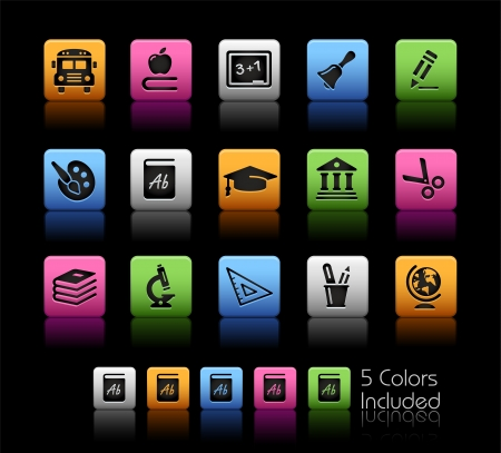 School and Education Icons - Color Box_It includes 5 color versions for each icon in different layers