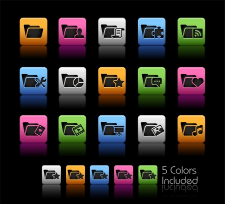 saved: Folder Icons 2 - Color Box_It includes 5 color versions for each icon in different layers  Illustration