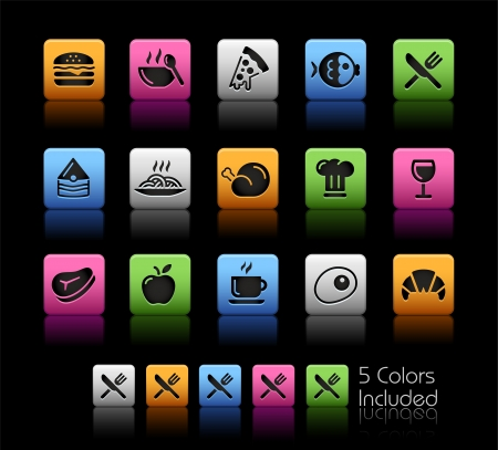fish steak: Food Icons 1 - Color Box_It includes 5 color versions for each icon in different layers  Illustration