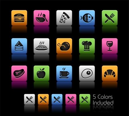bistecche: Icone di cibo 1 - Colore Box_It comprende 5 versioni di colore per ogni icona in diversi strati Vettoriali