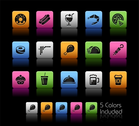 Food Icons - Set 2 - Color Box_It includes 5 color versions for each icon in different layers