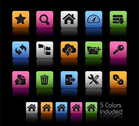 ftp: FTP and Hosting Icons - Color Box_It includes 5 color versions for each icon in different layers