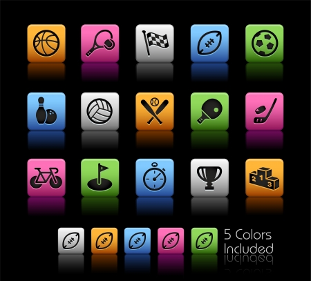 Sports Icons - Color Box_It includes 5 color versions for each icon in different layers