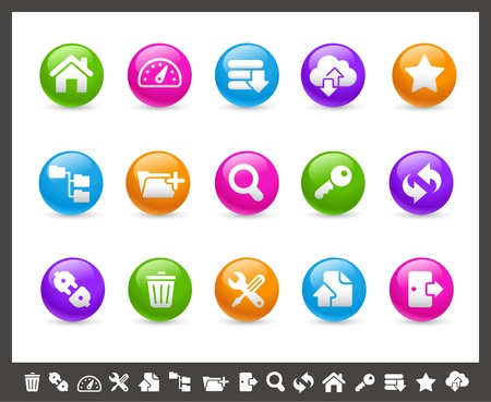 log out: FTP and Hosting Icons -- Rainbow Series Illustration