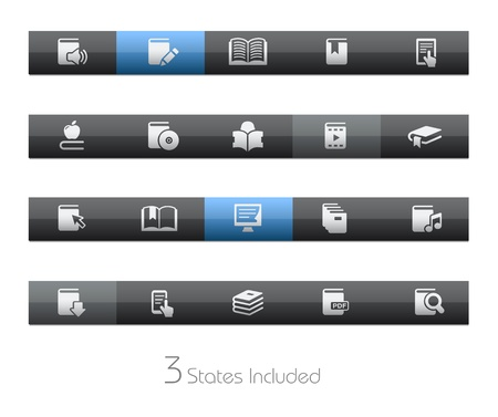 Books - Blackbar Series   The  eps file includes 3 buttons states in different layers Stock Vector - 17843157