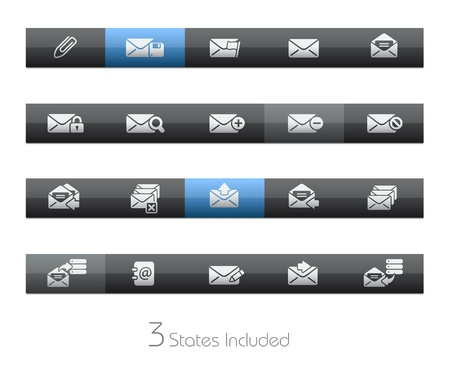 E-mail - Blackbar Series   The  eps file includes 3 buttons states in different layers Stock Vector - 17843153