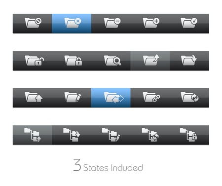 Folder Icons - 1 of 2 - Blackbar Series   The  eps file includes 3 buttons states in different layers Stock Vector - 17843154