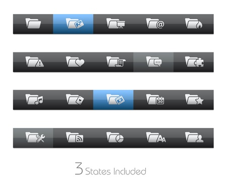 Folder Icons - 2 of 2 - Blackbar Series   The  eps file includes 3 buttons states in different layers   Vector