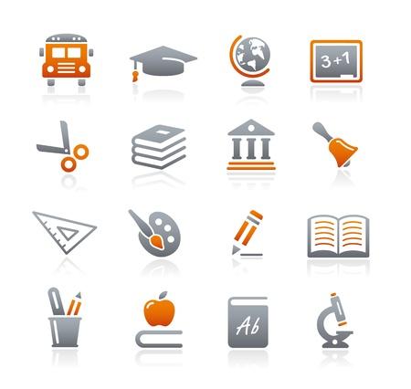 iconos educacion: Iconos de la educaci�n - Serie Grafito Vectores
