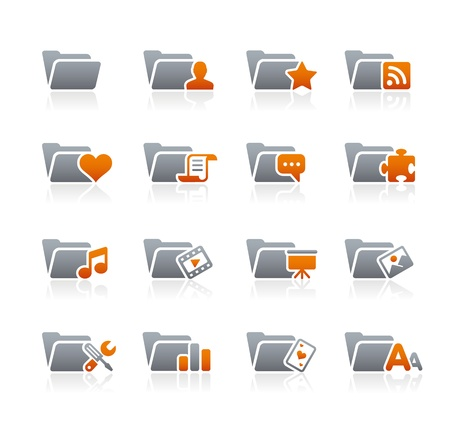 Folder Icons - 2 -- Graphite Series Stock Vector - 18024720