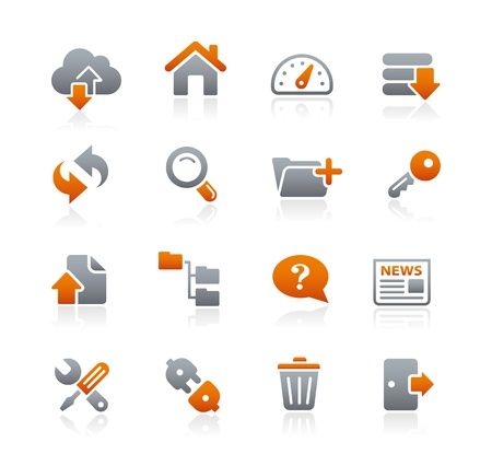 FTP and Hosting Icons -- Graphite Series Vector