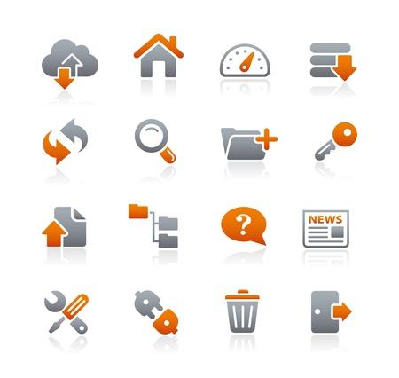 FTP en Hosting Icons - GrafietReeks Vector Illustratie