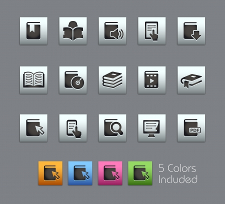 e learn: Book Icons -- Vector file includes 5 color versions for each icon in different layers  Illustration