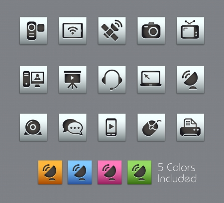 satellite tv: Communication Icons -- Vector file includes 5 color versions for each icon in different layers