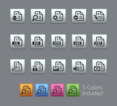 css: Documenti Icone - file vettoriale comprende 5 versioni di colore per ogni icona in diversi strati
