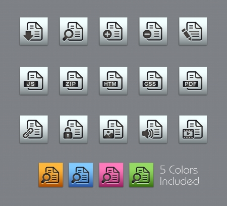 file: Documents Icons -  Vector file includes 5 color versions for each icon in different layers