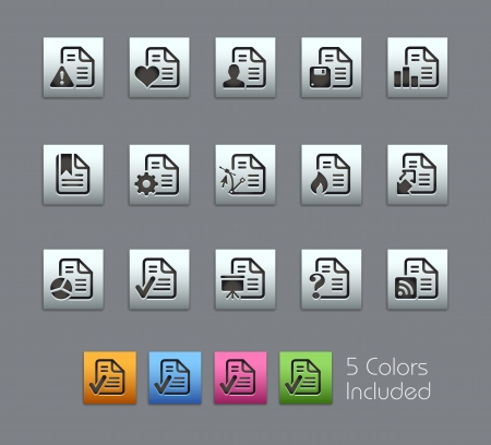 Documents Icons - vector file includes 5 color versions for each icon in different layers  Vector