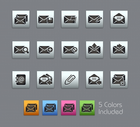 E-mail Icons -- Vector file includes 5 color versions for each icon in different layers Stock Vector - 18462692