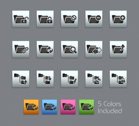Folder Icons - Vector file includes 5 color versions for each icon in different layers  Vector