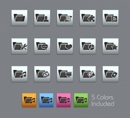 Folder Icons - Vector file includes 5 color versions for each icon in different layers Stock Vector - 18462661