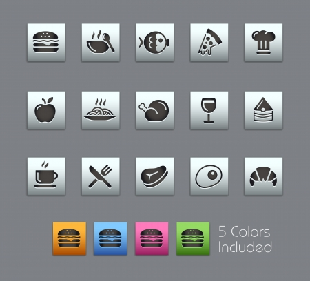 fish steak: Food Icons - Vector file includes 5 color versions for each icon in different layers