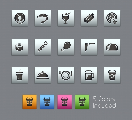 Food Icons - Vector file includes 5 color versions for each icon in different layers  Vector