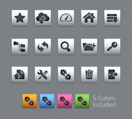 log out: FTP and Hosting Icons -- Vector file includes 5 color versions for each icon in different layers