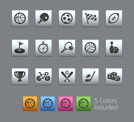 racket sport: Sport Icons -- Vector file includes 5 color versions for each icon in different layers