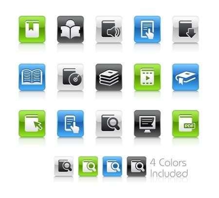 učebnice: Book Icons - soubor obsahuje 4 barevné verze pro jednotlivé ikony v různých vrstvách